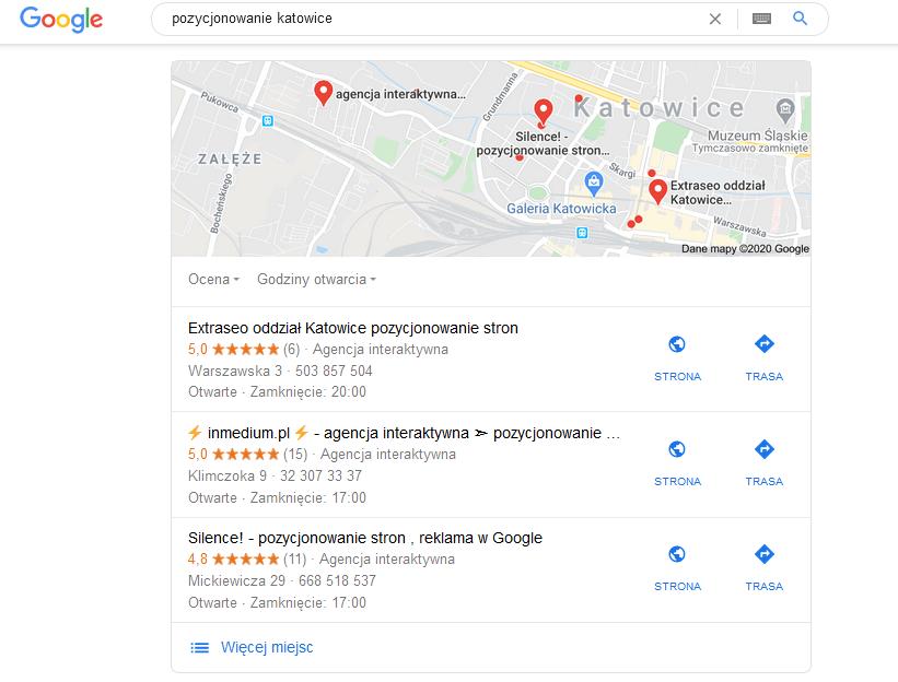 SEO pozycjonowanie lokalne katowice google mapa