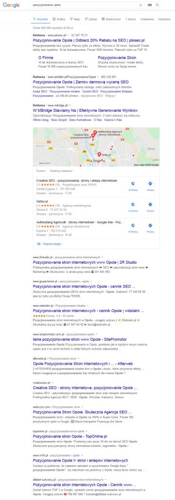 pozycjonowanie stron opole google