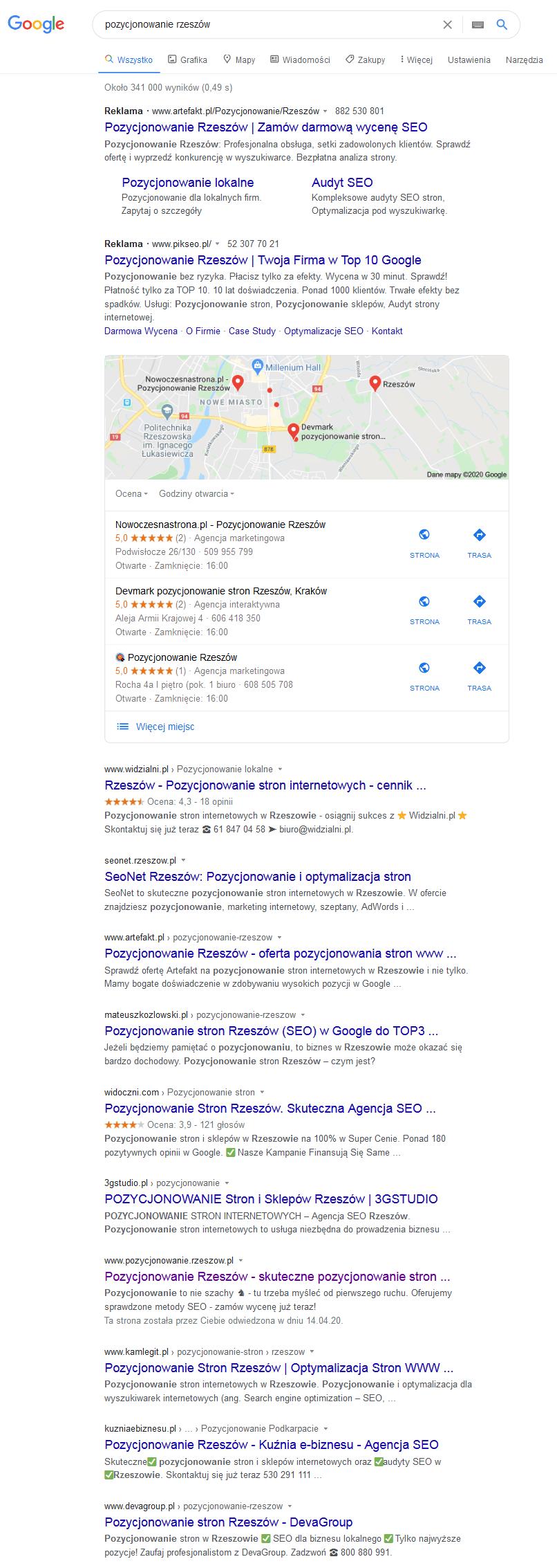 pozycjonowanie lokalne rzeszów google sem seo
