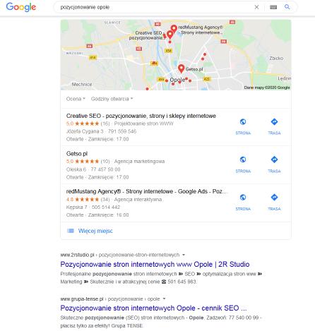pozycjonowanie opole google mapa lokalne
